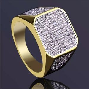 New Men's Statement crystal Gold Tone Ring